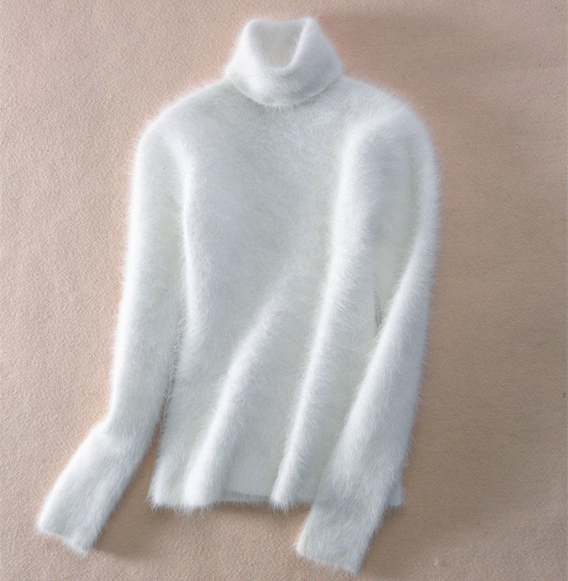 Faux Mink Cashmere Turtleneck Sweater Women 2019 Autumn Winter White Pullover Jumper Pull Femme Hiver Streetwear Knitted Sweater