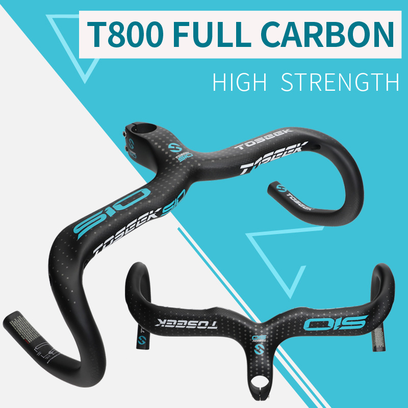 TOSEEK full carbon fiber bicycle handlebar road bike handlebar stem intergrated bent bar 400/420/440mm bike parts new temani ful carbon bicycle handlebar road bike handle bar cycling racing handlebar bicycle parts 28 6 400 420 440mm