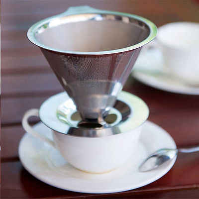 Stainless Steel Pour Over Coffee Dripper Double Layer Mesh Filter Cup Stand