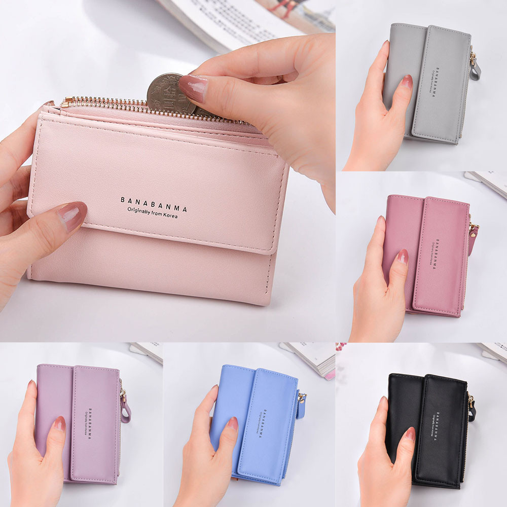 New Women Leather Pattern Coin Purse Passcard Short Wallet Pockets Note Compartment Passcard Card Holder Wallet Bag x# maihui ladies cowhide long genuine leather wallet women with coin pocket card holder wallet national hasp purse note compartment