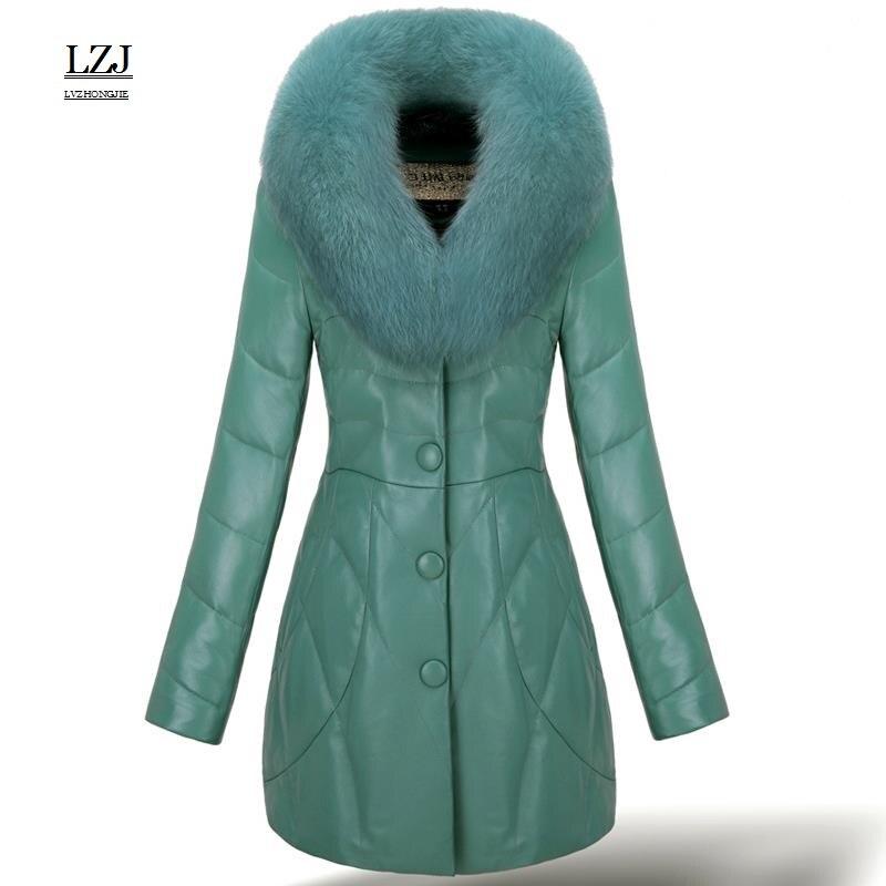 Lzj Высокое качество лисий мех воротника кожа пуховик для женщин кролика пальто с мехом с класса люкс кабриолет Размер 3XL специальное предлож