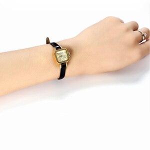 Image 5 - Julius unikalny kwadratowy mały Dial małe panie zegarki kobiety cienki skórzany pasek zegarki kwarcowe różowe złoto kobiet zegarek Montre Femme