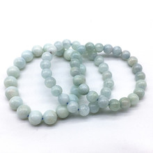 1 pcs  Nature Aquamarines 100% Really Color No Dyed Not Glass Good Quality 8 mm Women Bracelet For Girls Gift