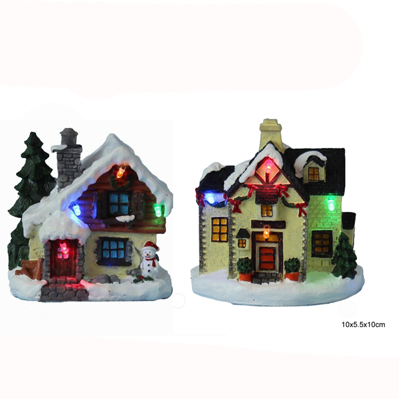 4 LED paper mache (polyresin) small Christmas village house design with led light Christ ...