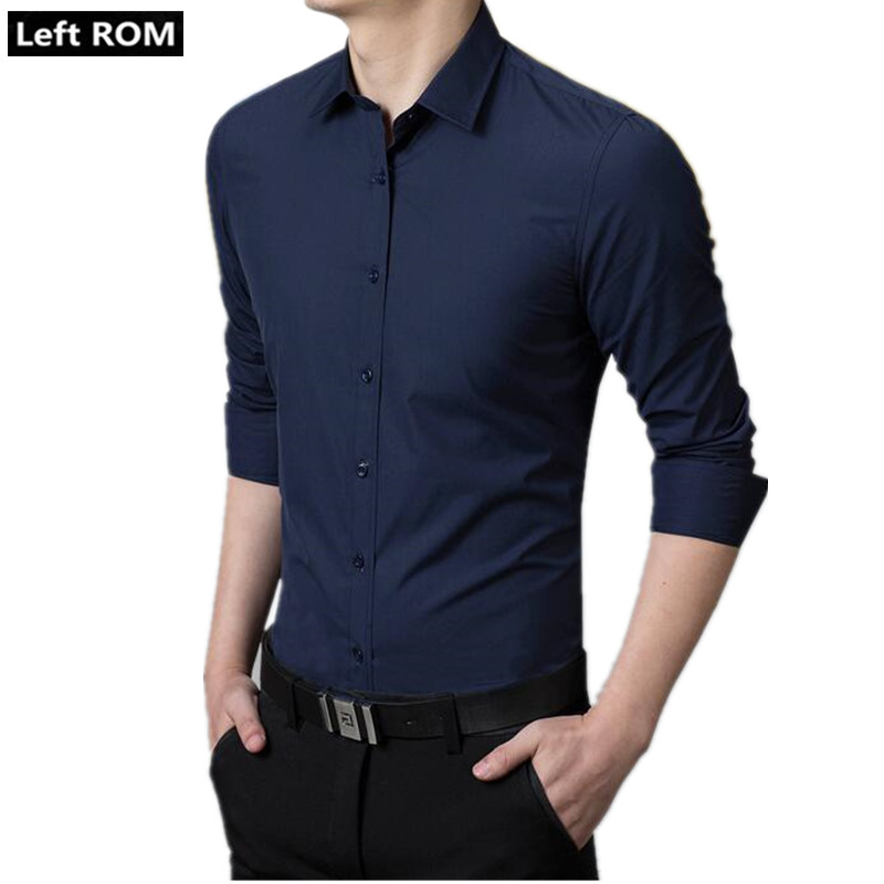 Left ROM 2019 Mens Fashion Boutique Cotton Pure Color Groom Wedding Dress Slim Long-sleeved Shirts / Male Formal Business Shirts
