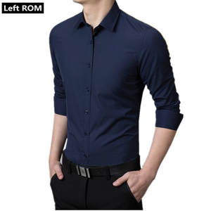 Left ROM 2019 Mens Fashion Boutique Cotton Pure Color Groom Wedding Dress Slim Long-sleeved Shirts  Male Formal Business Shirts