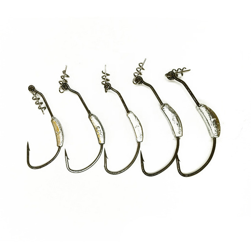 New 1/5Pc Lead Weighted Carbon Steel Hooks With Twistlock Spring Fish Lure Soft Bait Hook Sea Fishing 2g 2.5g 3g 5.25g 7g#293772
