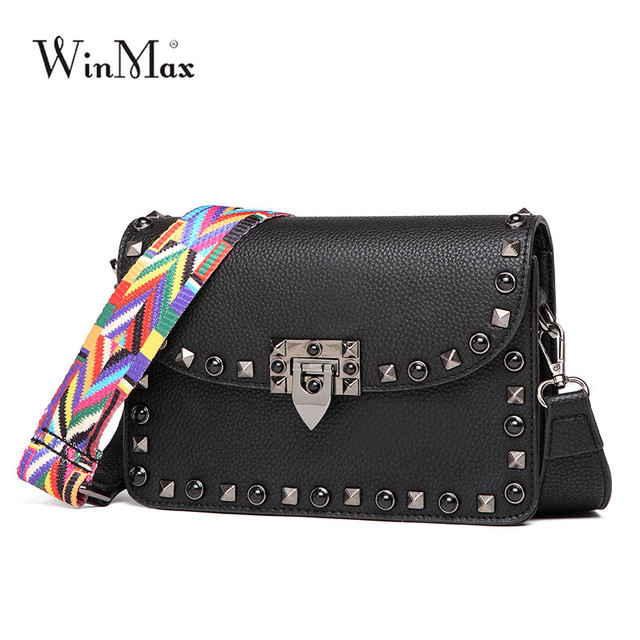 9a580665de6b 2018 Winmax Women Small Flap Rivet Hand Clutch Bags Female Leather Fashion  Crossbody Bag Ladies Messenger Shoulder Bag for Girls