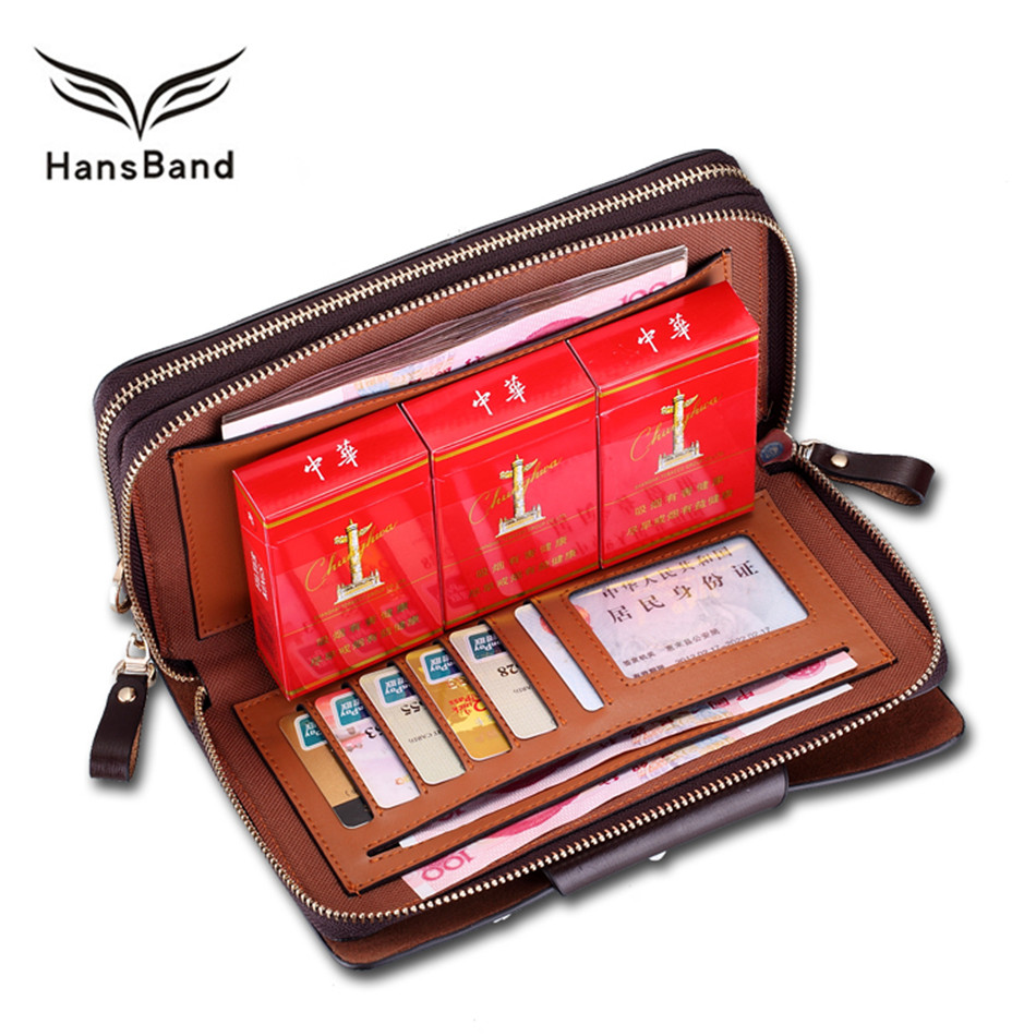 HansBand Men Wallet Genuine Leather Bag Fashion Handbags Double Zipper Men Clutch Bags Brand Hand Bag Luxury Business wallet цена 2017