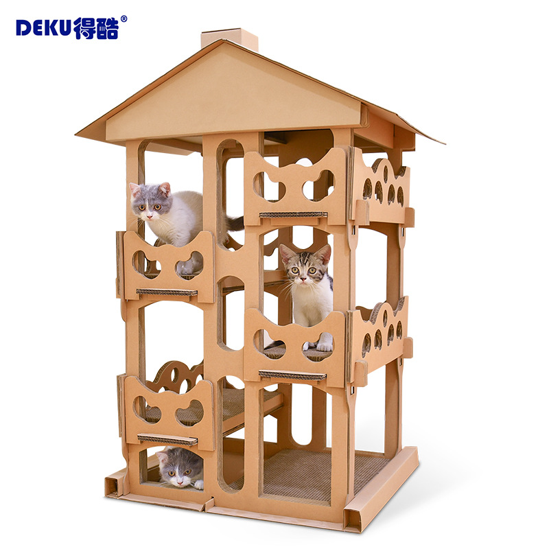 Cats Luxury Cardboard House 4 Layers Large Villa Mascotas Scratcher Scratch Board Cat Climbing Tree Tower Thickening Furniture