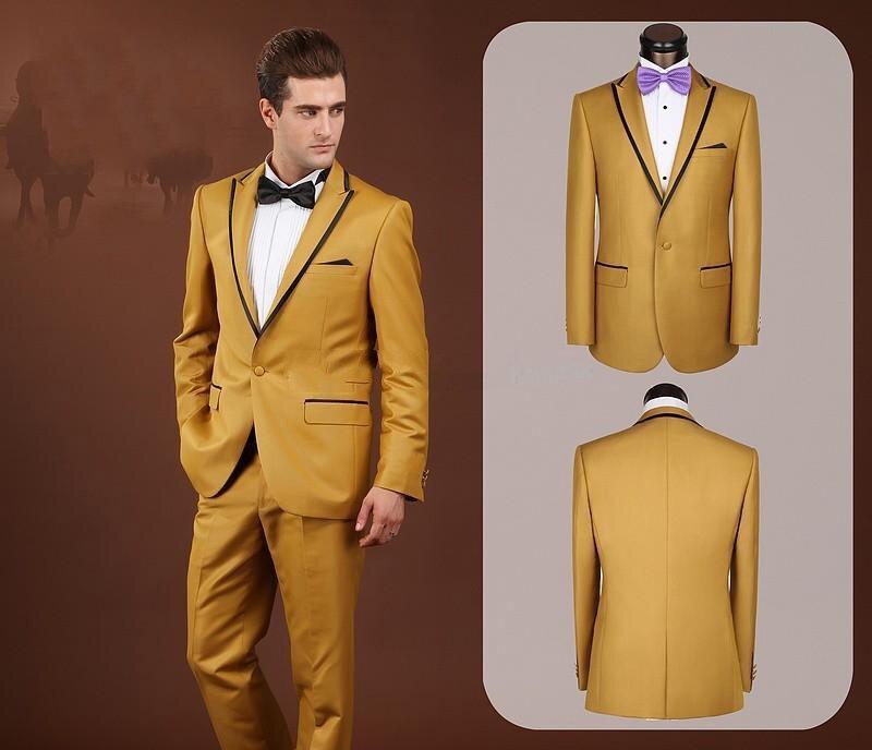 Personnalisé hommes mode Slim Fit costumes or pic revers hommes mariage toilettage costumes de haute qualité affaires mode costumes Ternos