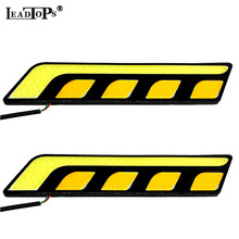 Newest White/Yellow Car Head Light for cars COB LED Daytime Running Lights DRL+Fog Lights with Turn Signal For Mazda BMW AE