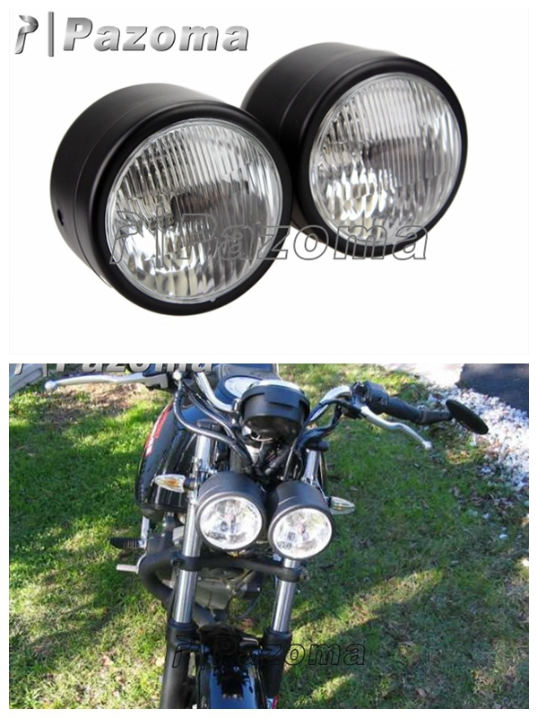 pazoma free shipping black supermoto motorcycle twin metal headlight motorcycle custom dominator. Black Bedroom Furniture Sets. Home Design Ideas