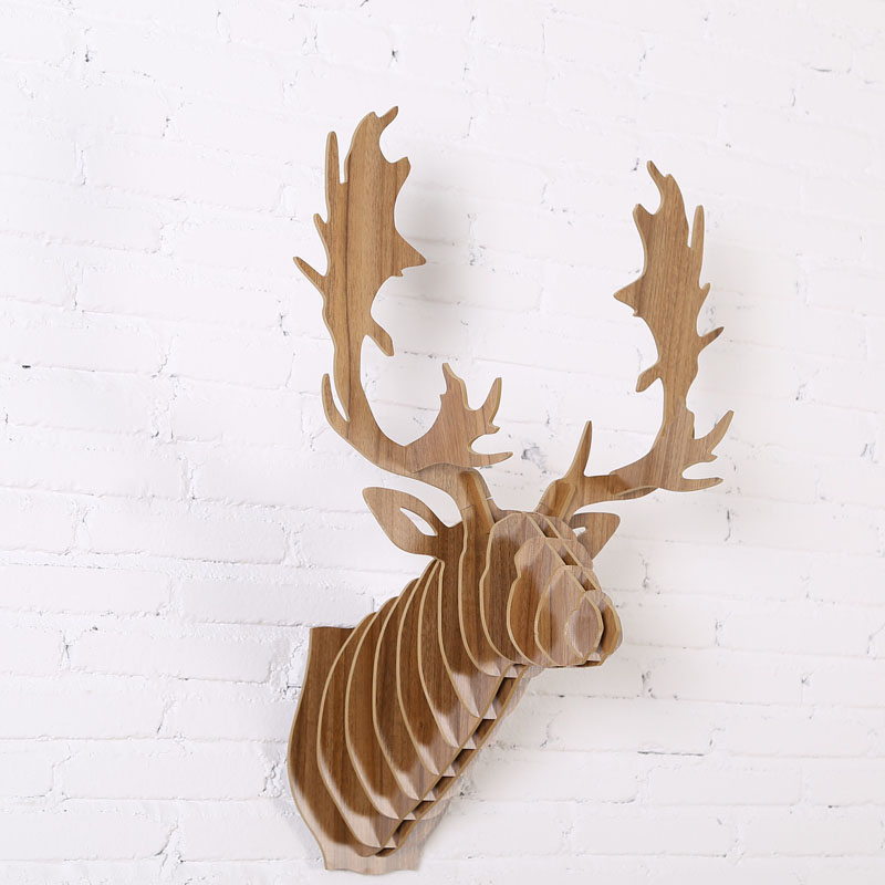 wood sculpture reindeer head animal trophy head wall wooden craft for wall bar club decoration. Black Bedroom Furniture Sets. Home Design Ideas