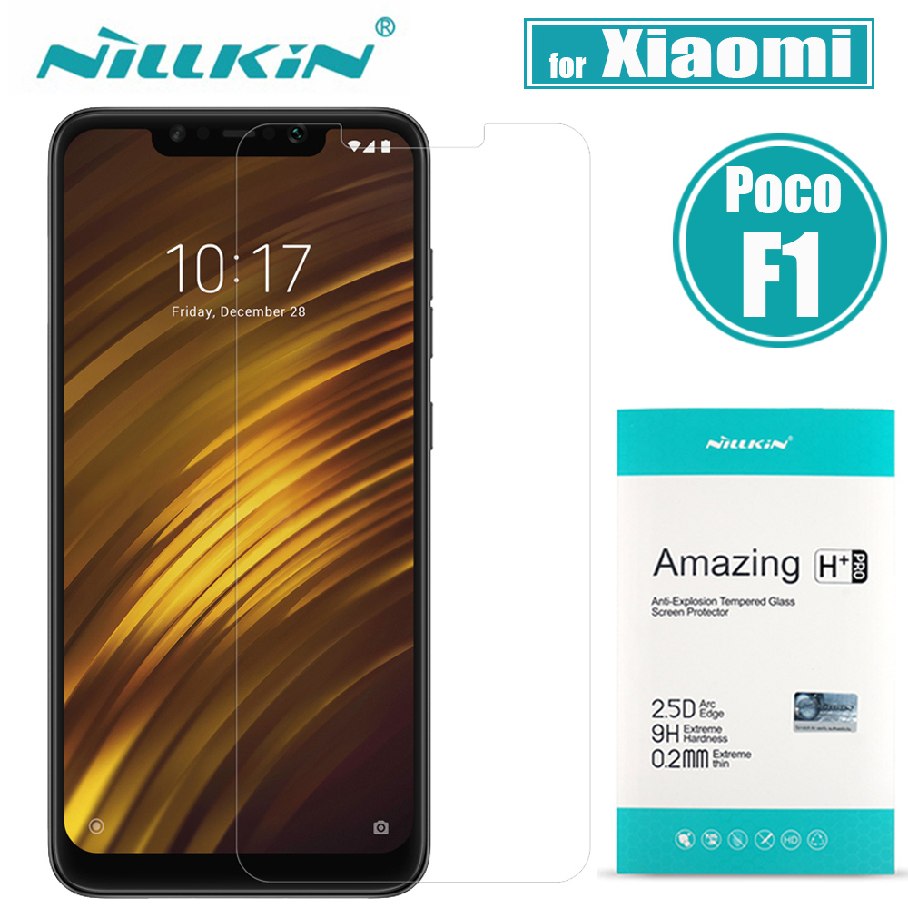 untuk Xiaomi Pocophone Poco F1 Tempered Glass Screen Protector Nillkin 9H Hard Clear Safety Protective Glass untuk Xiaomi POCO F1