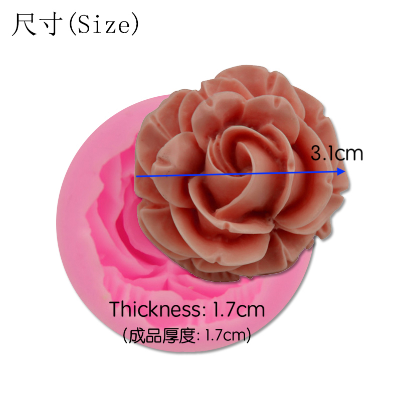 Bloom Rose Silicone Cake Mold 3D Flower Fondant Mold Cupcake Jelly Candy Chocolate Decoration Baking Tool Moulds FQ2825 2