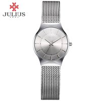 JULIUS JA-577 Mulheres Ultra finos de Prata Preto Homens Malha de Aço Inoxidável Relógio de Pulso Feminino Relógio de Quartzo Analógico Moda Casual Relógio
