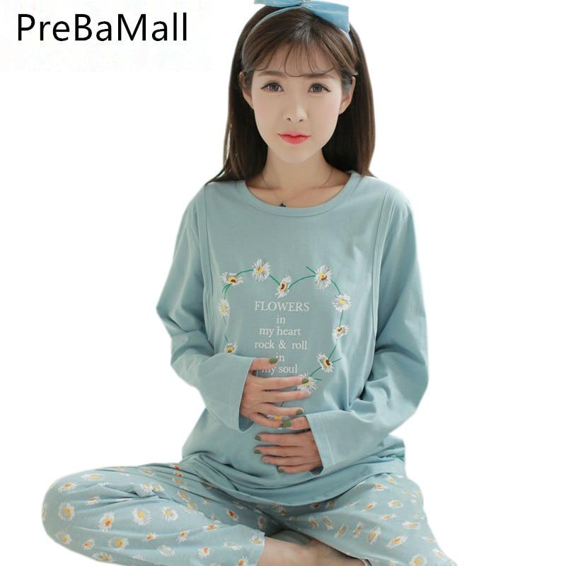 Nursing Pajamas Maternity Clothes Cotton Pregnant Pajama Set Maternity Long Sleeve Tops&Pants Sleepwear Nightgown B0460 sheep embroidered top and pants pajama set