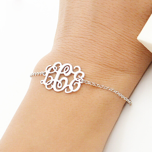 e15c6f5da68a Joyería de acero inoxidable de plata de oro rosa monograma personalizado  nombre de las mujeres de