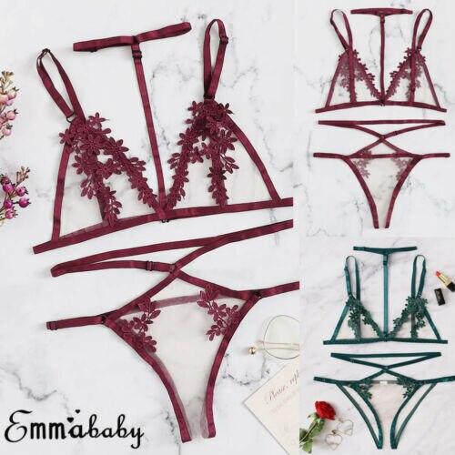 Lencería Sexy para mujer sujetador abierto porno ropa interior exótica ropa hollow out superior G-string ropa de dormir transparente micro bikini extremo