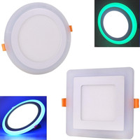Dual Color 9W LED Panel Light Green Blue White Ultra Slim Recessed LED Ceiling Lights AC85