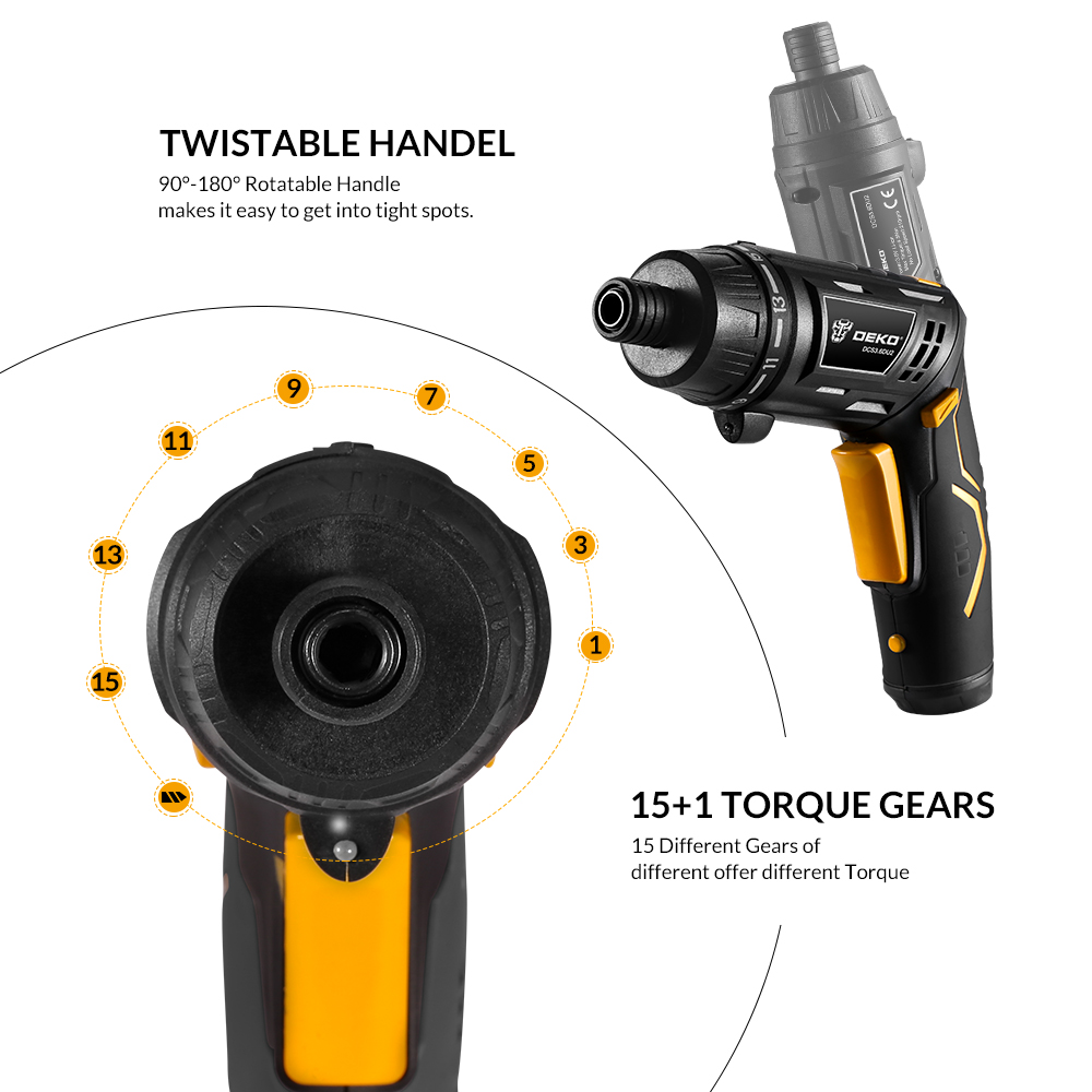 Image 3 - DEKO DCS3.6DU2 S1 Cordless Electric Screwdriver Rechargeable Power Screwdriver Household DIY Twistable Handle Wireless LEDTorch-in Electric Screwdrivers from Tools on