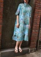 Vintage Floral Peacock Print Stand Collar Bead Button Half Sleeve Ramie Linen Dress, Summer Thin Beautiful Ruffle Hem Retro Robe