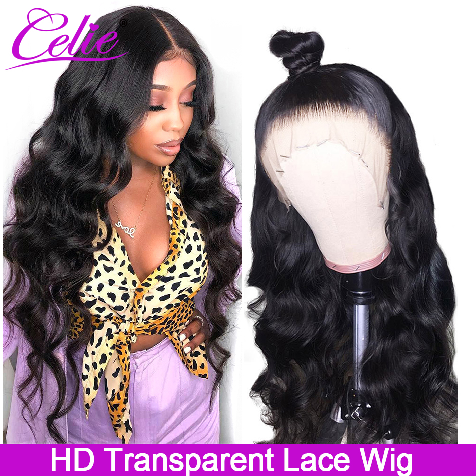 Celie HD Transparent Lace Wig Glueless Lace Front Human Hair Wigs Brazilian Body Wave 150 180 250 Density Lace Wig Pre Plucked