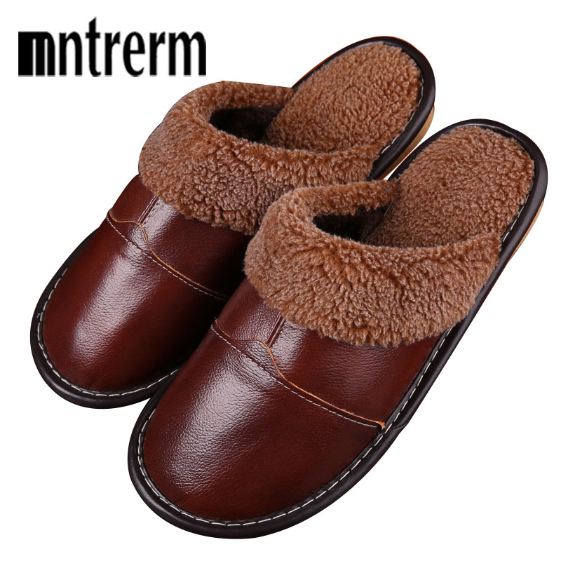 Mntrerm Men's Slippers Winter Genuine Leather Thick With Plush Home Indoor Non-slip Thermal Couples Slippers 2018 New Hot Sale