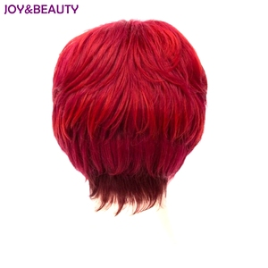 Image 3 - JOY&BEAUTY Heat Resistant Synthetic Hair Short Curly Wig Red Color Women Wigs 20cm