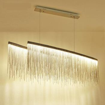 Büyük 100 cm Krom zincir kolye ışık yemek odası için Sanat salonu post-modern Led Süspansiyon Armatür ev Led şerit çubuk ışıkları