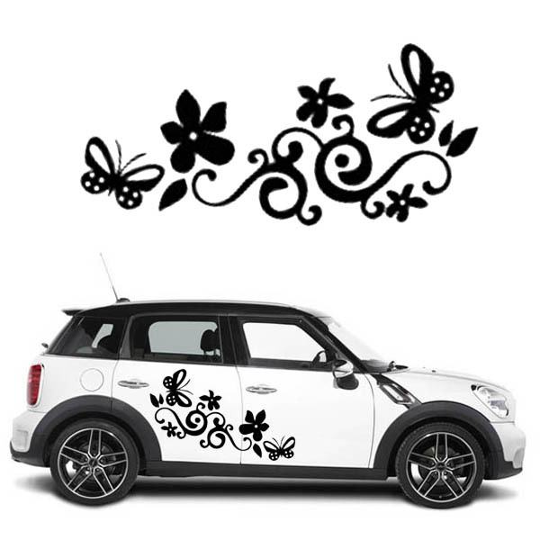 Butterfly flower cars wall stickerscar window stickernotebook decal vinyl automobiles decals quotes home decor sticker on car in wall stickers from home