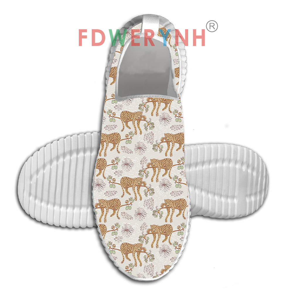 Women's Flats Cartoon Forest Animals Woodland Stock Women Breathable Outdoor Walking Shoes Mesh Light Bottom Custom Casual Shoes