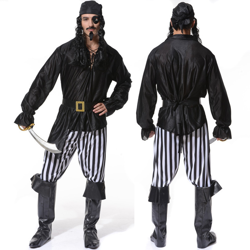 Mens Pirate Costume Halloween Party Caribbean Cosplay For Carnival Party Corsair Viking Masquerade Pirate Clothes