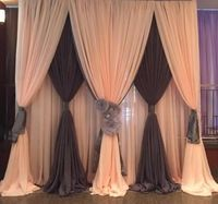 10x10ft Ice silk 3 layers wedding backdrop curtain champagne with black stage curtain drapes background for party event