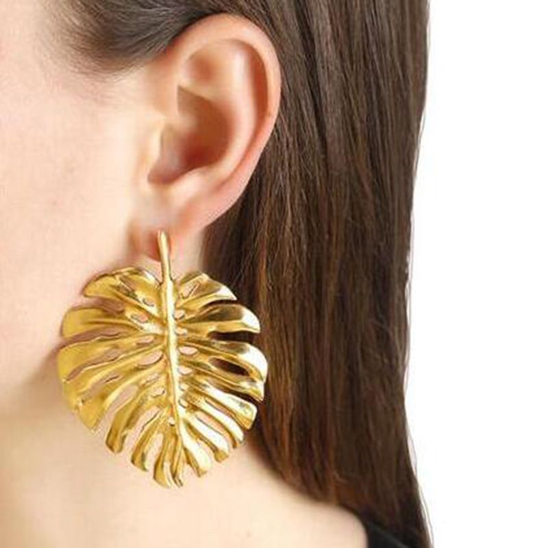 Dvacaman Hot Sale Big Gold&Silver Plated Leaf Stud Earrings Party Accessories Vintage Metal Statement Earrings For Women Jewelry