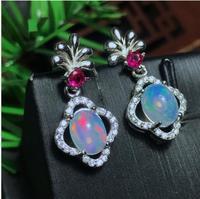 Opal earring Free shipping Nature real opal 925 sterling silverFine jewelry Gem Size 6*8mm