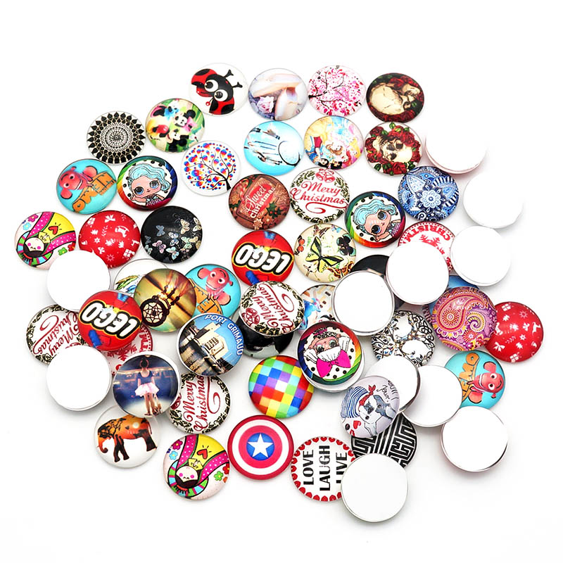 Hot sale Random styles 100pcs Mixed 12mm/16MM/18mm/20mm/25mm Round photo glass cabochon demo flat back Making findings Wholesale