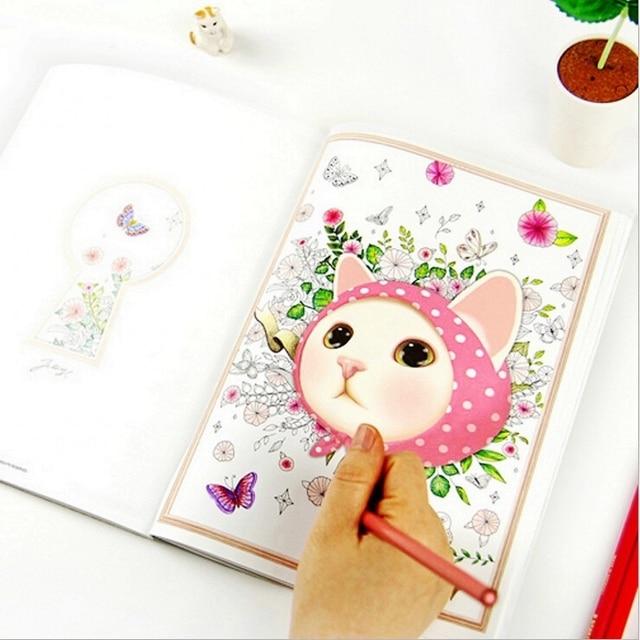 śliczne Kawaii Cartoon Kolorowe Jetoy Kot Kolorowanka Dla Dorosłych