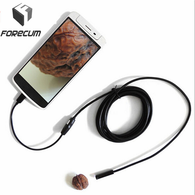 FORECUM 7mm Lens 720P HD Endoscope IP67 Waterproof Android Endoscope Snake Borescope USB Inspection Mini Camera With 6 LED Light stardot usb endoscope android mini camera 7mm lens ip67 waterproof inspection borescope camera flexible snake tube endoskop