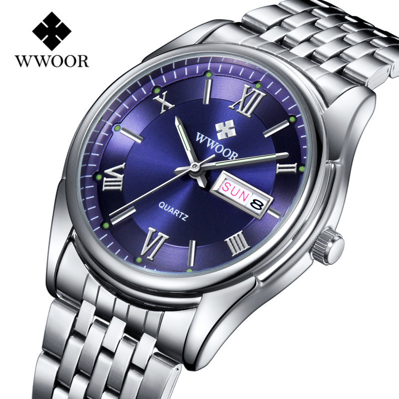 WWOOR Mens Watches Top Brand Luxury Silver Steel Date Luminous Quartz Watch Men Casual Sports Waterproof Clock Relogio Masculino luxury watch men wwoor top brand stainless steel analog quartz watch casual famous brand mens watches clock relogio masculino