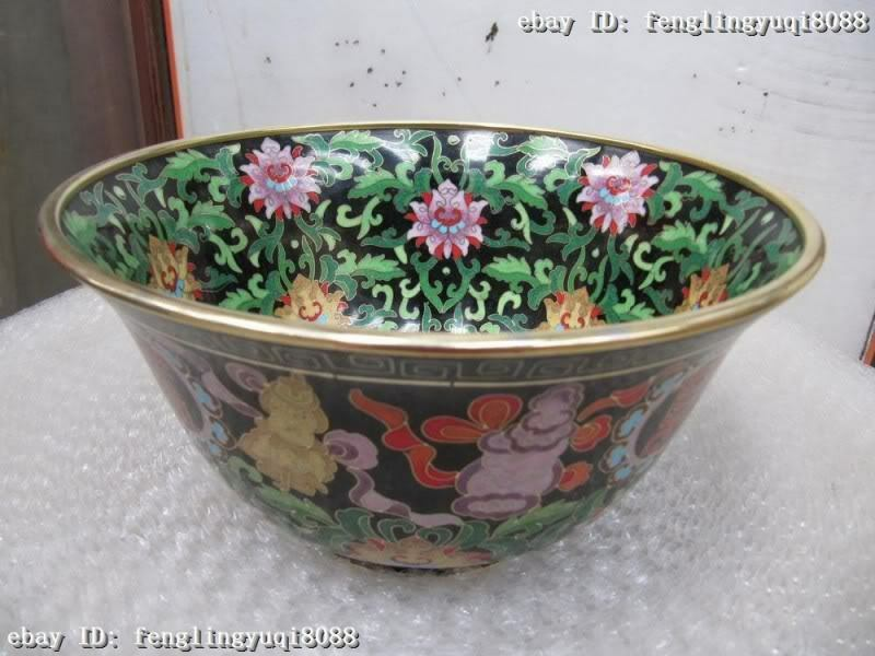 4.5 Chinese Regius Copper Bronze handwork made cloisonne 8 treasures bowl4.5 Chinese Regius Copper Bronze handwork made cloisonne 8 treasures bowl