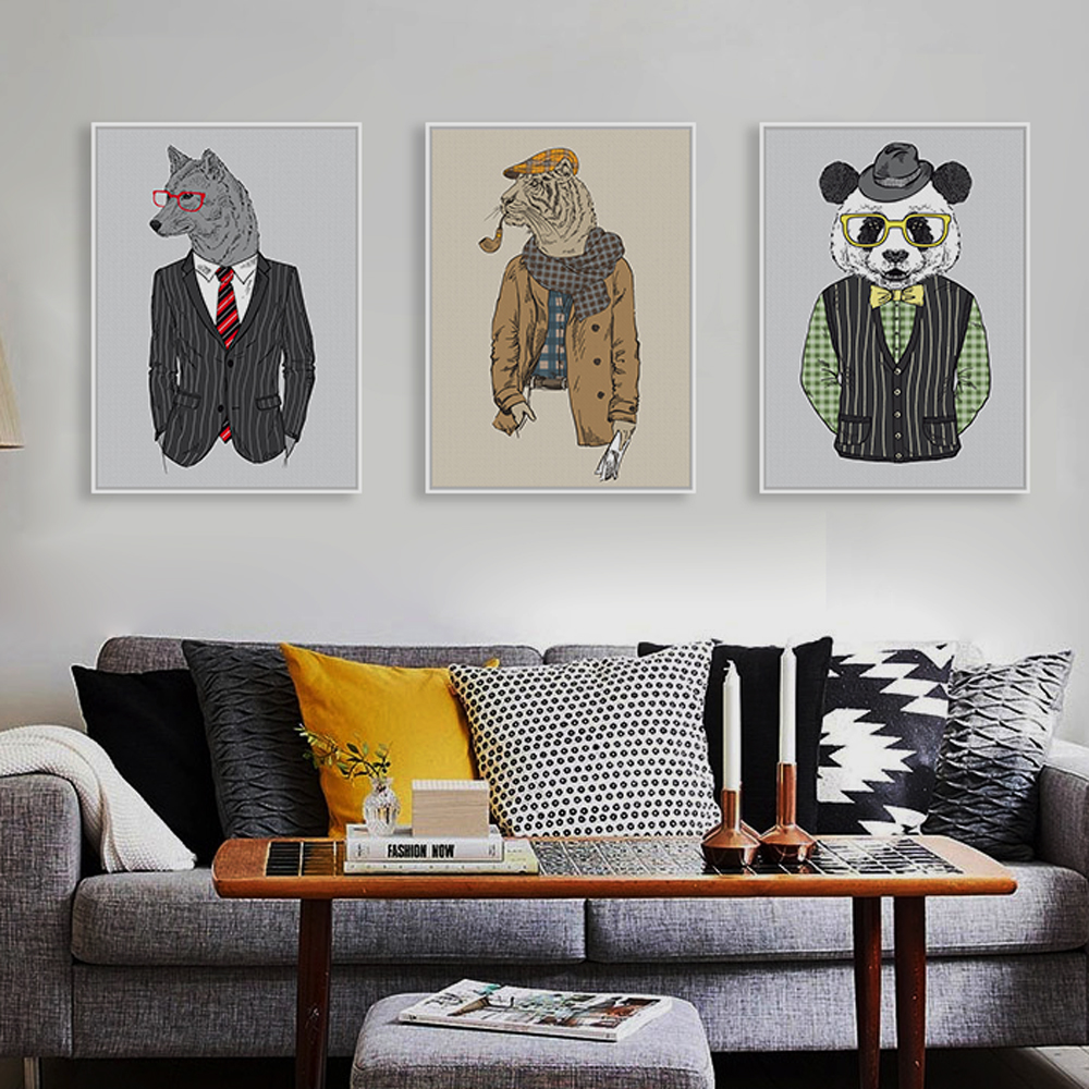 Modern Fashion Animals Hippie Deer Lion Zebra Giraffe Art Print Poster Wall Picture Canvas