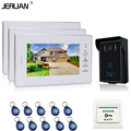 JERUAN 7`` Video Intercom Video Door Phone System + 3 White monitorS  + 700TVL RFID Access Waterproof Touch key Camera