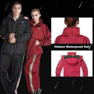 Image 4 - QIAN Undurchlässig Regenmantel Frauen/Männer Anzug Regen Mantel Außen Hood frauen Regenmantel Motorrad Angeln Camping Regen Getriebe Männer der Mantel