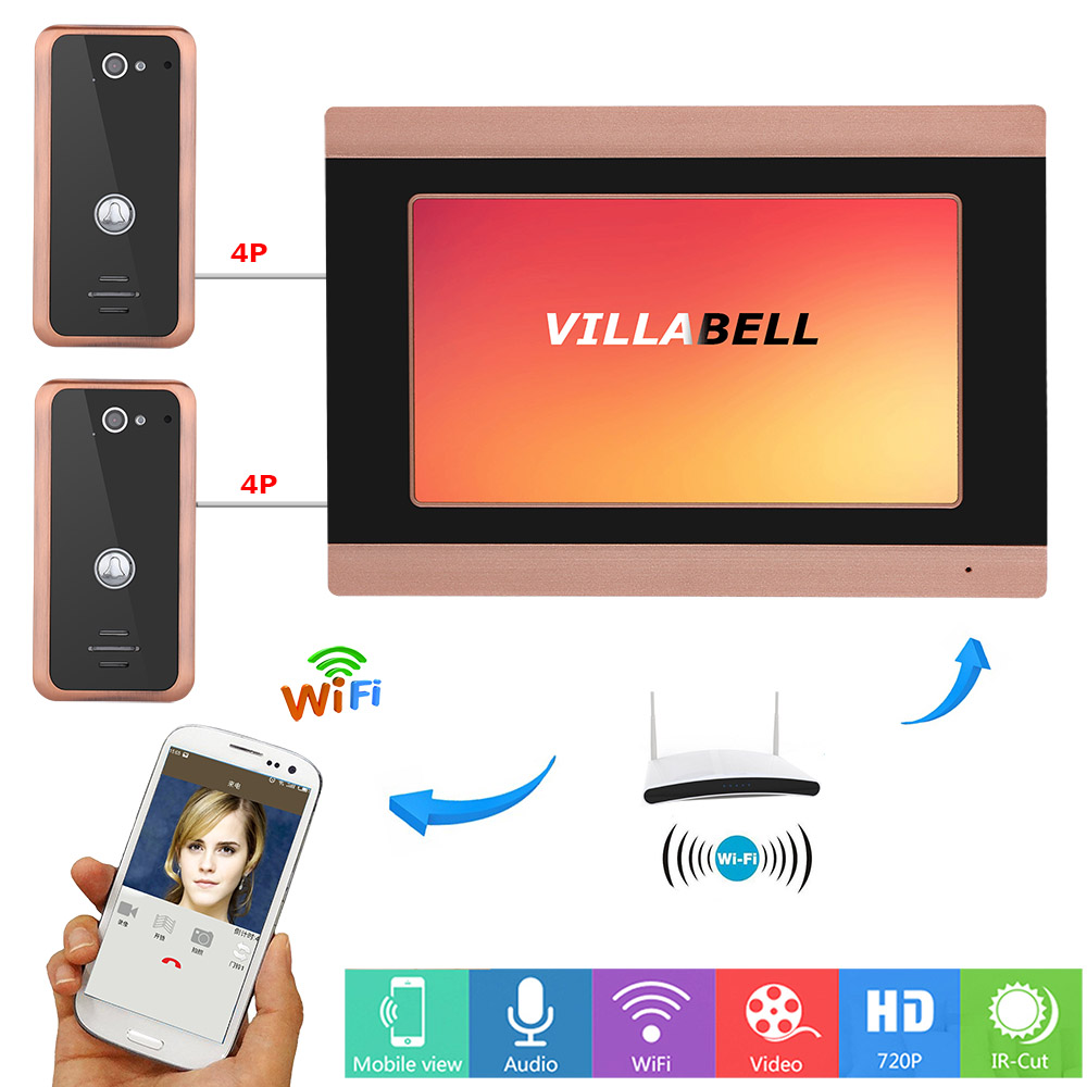 MAOTEWANG 7inch Wired Wifi Video Door Phone Doorbell Intercom Entry System With 2 X 1000TVL Wired Camera Night Vision