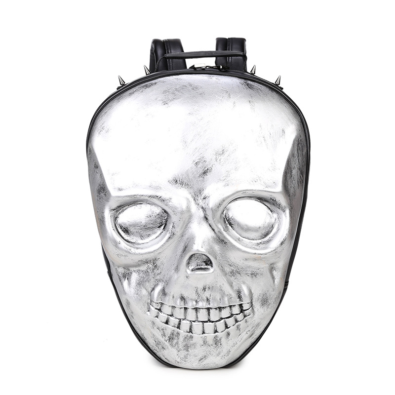 2018 Steelsir Unisex Leather Backpack Women Rock Skull Bags Black School Bags For Teenagers Silver Men Backpacks2018 Steelsir Unisex Leather Backpack Women Rock Skull Bags Black School Bags For Teenagers Silver Men Backpacks