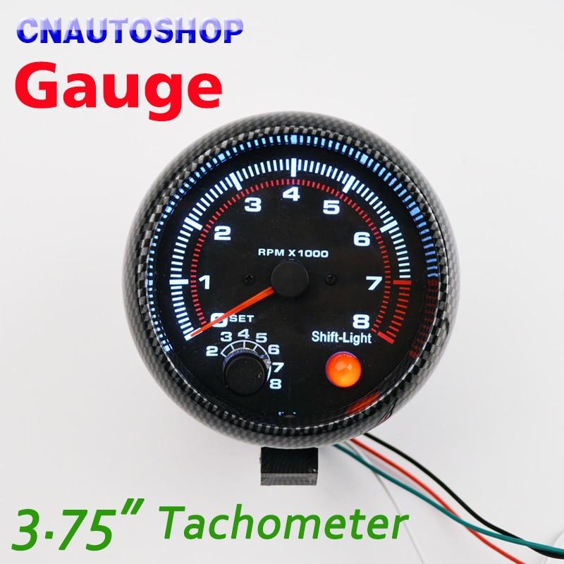 Dragon Gauge 95mm 3.75 Inch Tachometer for Single Color LED Car Meter 3 3/4 12V Car Gauge [Carbon Fiber Style] TAC 0-8000 RPM 2 52mm auto car tachometer gauge analog carbon fibre face 0 8000 rpm white background light black bezel