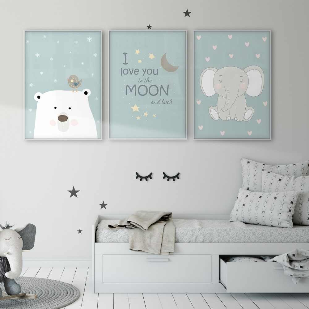 Polar Bear Bird Elephant I Love You to the Moon and Back Children's Wall Art Poster Baby Room Canvas Print Nursery Wall Decor