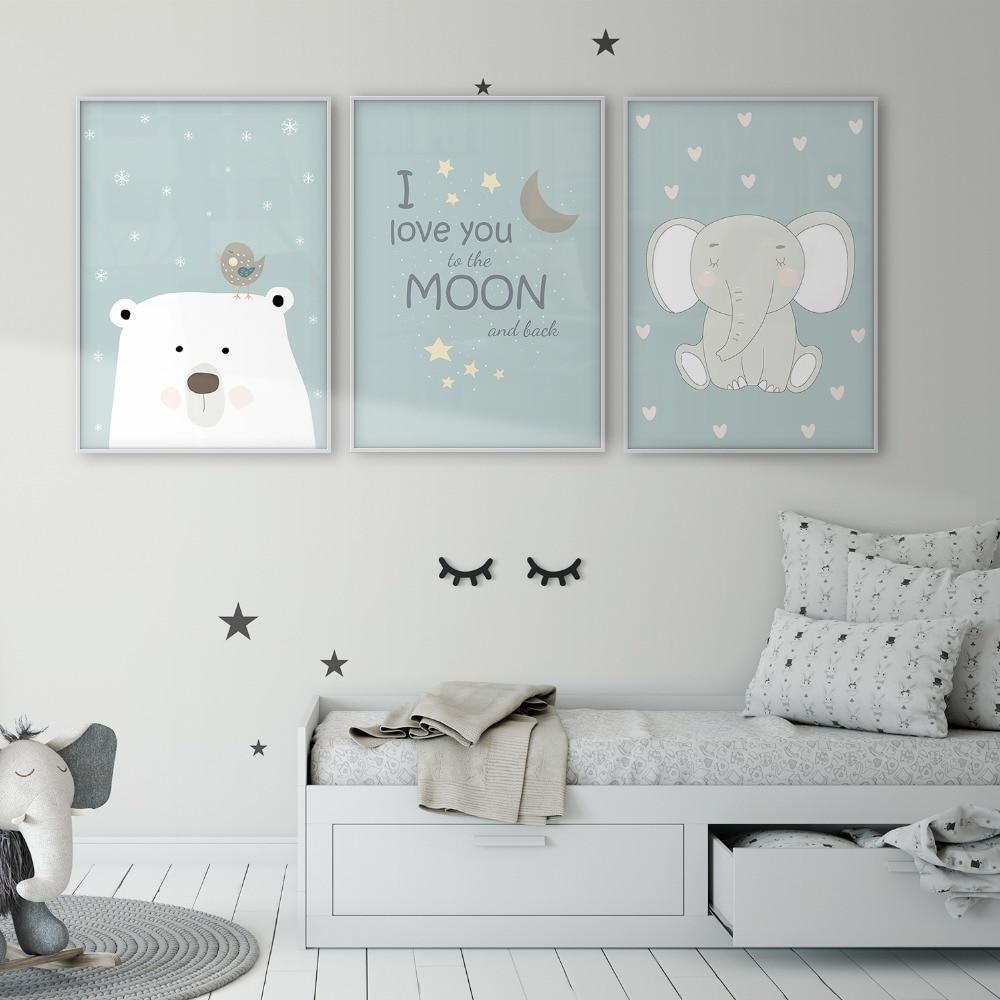 Polar Bear Bird Elephant I Love You To The Moon And Back Children's Wall Art Poster Baby Room Canvas Print Nursery Wall Decor
